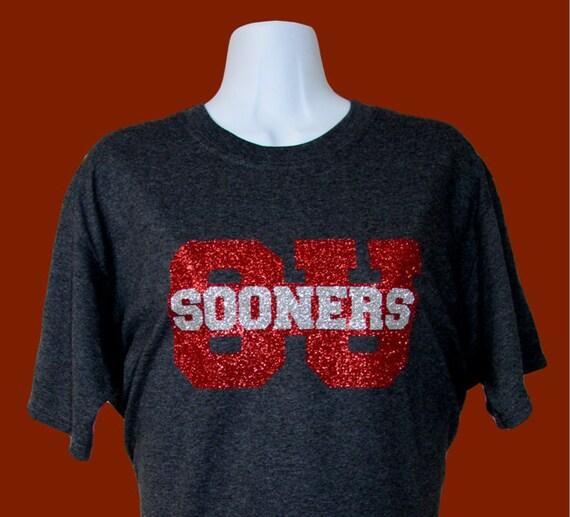 University Of Oklahoma Glitzy Bling Charcoal Spirtit T Shirt