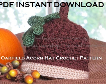 Instant Download Crochet Pattern, Oakfield Acorn Hat, Fall Accessory, Oak Leaf Pattern, Acorn Beanie, Hannahs Homestead2