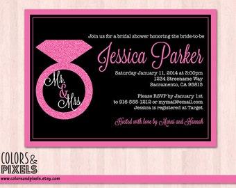 Bridal Shower Invitation, Bachelorette Invitation, Bridal Party, Bachelorette Party, Diamond Ring Bridal Shower Invite, Diamond Wedding