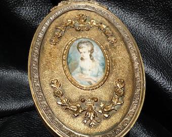 Vintage Hand Mirror  Bronze Dore Gilt Bronze  Circa 1920s Apollo Studios