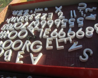 Porcelian Letters and Numbers, Ceramic Letters, block letter, Sign Letters, Stick On Letters