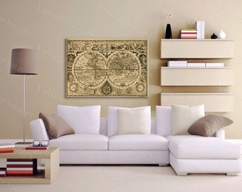 """Giant Historic 1628 Old Antique Restoration Hardware Style World Map Fine Art Print Old World Map Wall Decor Large size up to 43"""" x 56"""