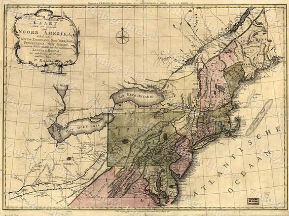 Giant VINTAGE HISTORIC 1772 Northeastern United States Chesapeake Bay area antique Dutch Old World restoration Style Map Fine Art Print