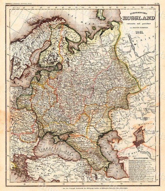 Giant VINTAGE HISTORIC 1851 Map of Russia antique Old World Restoration  Style Map Fine Art Print wall map poster