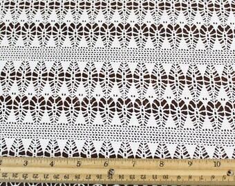 Off White Arrowhead Stretch Lace Fabric by the yard - Erika Pattern - 1 Yard style 529
