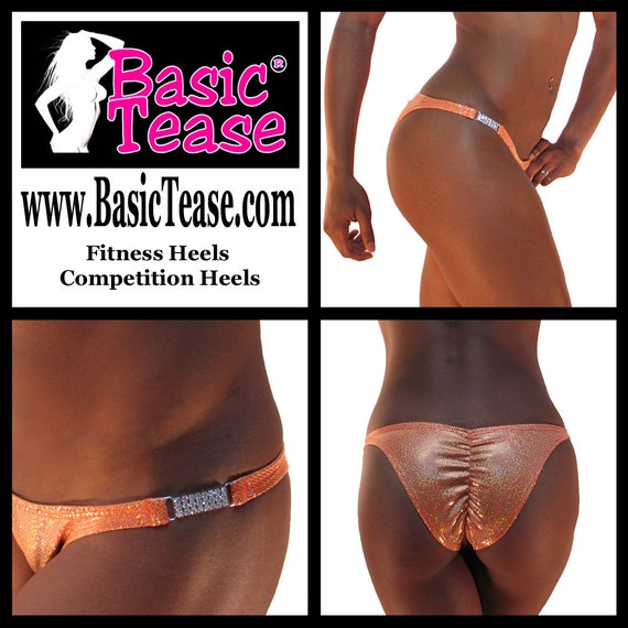 Competition Fitness Bottom with In Stock Solid, Print, or Hologram Fabric and Rhinestone Side Detail