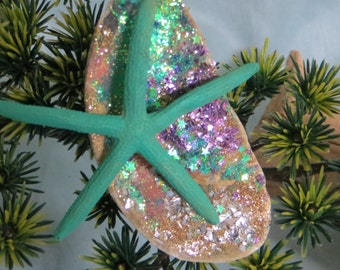 Multi color glittered shell ornament with teal finger starfish_coastal christmas ornaments_beach ornaments