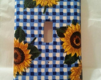 Sunflowers on Blue and White Checks Light Switch Plate Cover