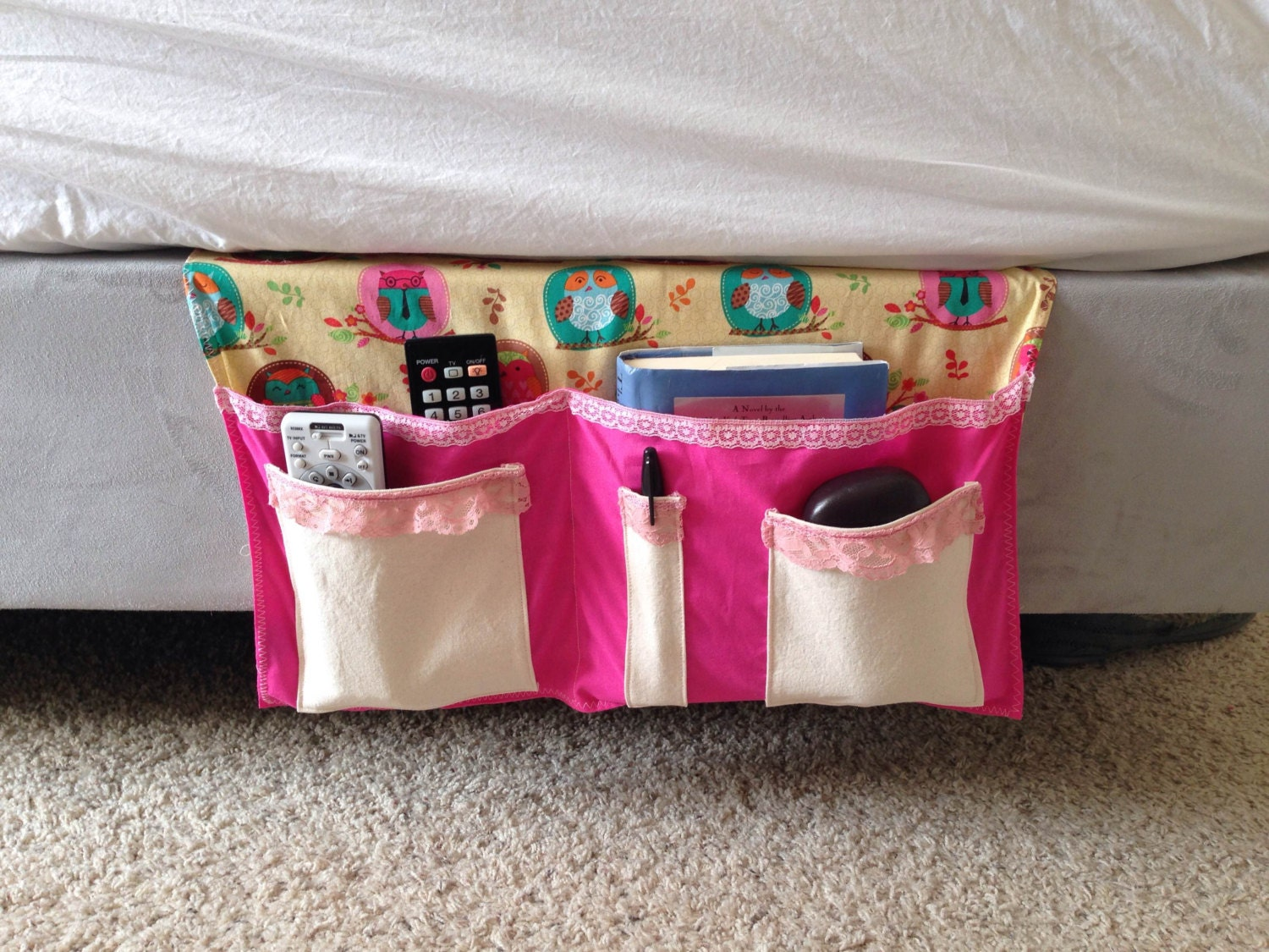 Girls Owl Bedside Bed Caddy Bed Organizer Dorm By