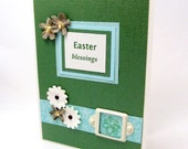 Easter Card - Easter Blessings - Soft Colors - Green and Turquoise - Shabby Chic Flowers - Ivory Accents - Blank Card