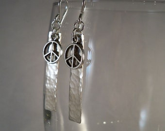 Peace Sign, Silver-Filled Metal Earrings
