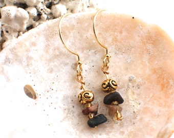 Gold Flower and Stone Earrings