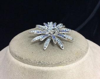 Vintage Shades Of Blue Rhinestone Pin