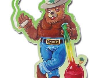 Smoked Out Bear vinyl sticker