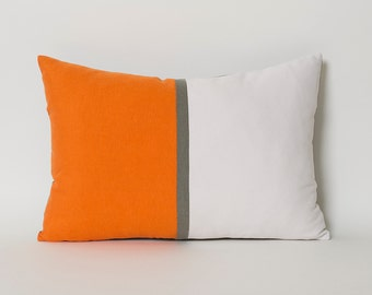 Decorative Throw Pillow Covers Tangerine Orange White Gray CUSTOM SIZE Lumbar Pillows Tangerine Orange Accent Pillows Cushion Covers