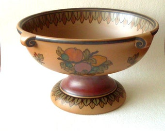 L.Hjorth Denmark, stoneware fruit-bowl  circa 1930's with fruit decor and pedesal.