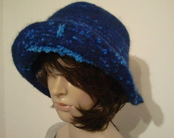 Felted hat in two shades of blue