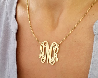 Gold Monogram Necklace - Monogram Necklace 1'' Pendant 3 Initials 18k Gold Plated, Bridesmaid Gift