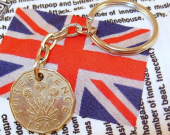 1942 3d 12 Sided Threepence English Coin Keyring Key Chain Fob King George VI