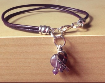 Purple, Violet Awareness Bracelet-Leather-Cancer Survivor, Crohns, Cystic Fibrosis, Lupus, ADHD, Epilepsy, Alzheimer's