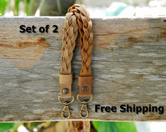 Set of 2 Braided leather lanyards with FREE SHIPPING!