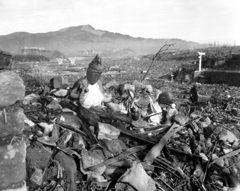 1945 Nagasaki temple destroyed- WW2 Attack Atomic Bomb Attack on Japan  Old Photo Print Photograph Giclee Print