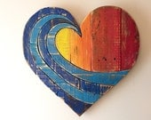 Wave Rainbow Pallet Wood Heart woodart ,wall hanging , beach art, reclaimed wood, pallet wood, multicolor, spring dec