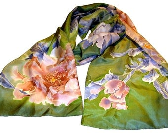 scarf Peony in green. Hand painted silk scarf, green, blue, pink hand painted scarf Floral scarf. Peony flowers. Summer scarf