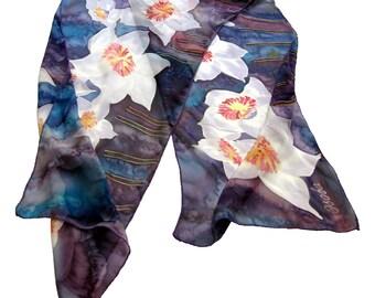 Blue Silk scarf  Narcissus  Hand painted silk scarf. Narcissus Floral silk  neck scarves. Handpainted silk, Summer scarf