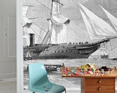 "Ships Wall Mural, Black and White Wallpaper, Vintage Illustration - 100"" x 72"""