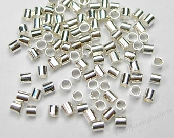 Bulk- Silver Crimp Bead - Silver Plate tube Crimps - Crimping beads -  Silver Plate Findings -  Jewelry Making supplies -TR059