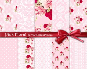 "Pink digital paper : ""Pink Floral"" pink shabby chic digital paper, red roses, floral scrapbook paper, decoupage paper, lace digital paper"