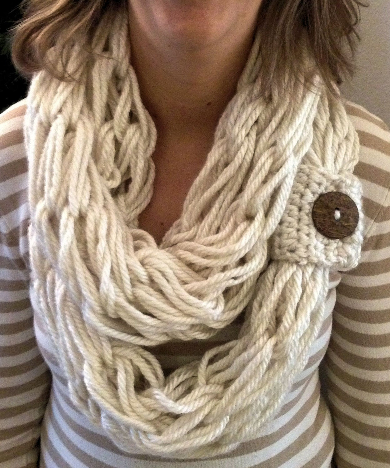 Chunky Knit Scarf Boho Style Arm Knitted Infinity