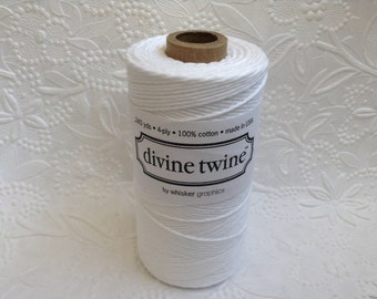 Solid White Bakers Twine 240 Yards Spool-Divine Twine-Cotton-4 ply-Biodegradable