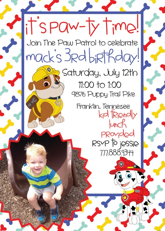 Patrol Birthday Printable Invitation