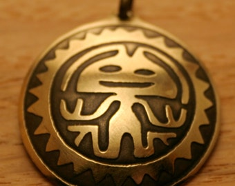 Aztec man, brass pendant, handmade metal jewelry