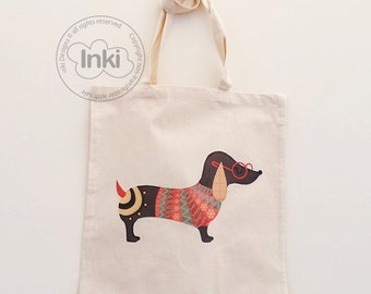 Cotton Tote Bag Sausage Dog Illustration - Custom Name Personalised Canvas Cotton Tote Bag - Write Any Name