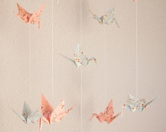 Mobile with Cranes made of japanese paper bright-blue/rose