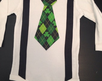 St Patrick's Day Tie Bodysuit with Suspenders