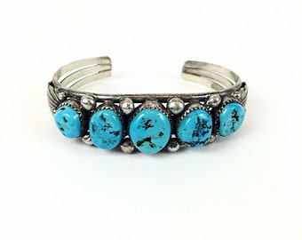 NAVAJO Cuff vintage TURQUOISE bracelet Old Dead Pawn sterling silver Native American CUFF bracelet