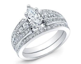 Marquise Diamond Engagement Ring Set
