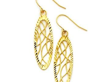 14K Yellow Gold Oval Earrings, Diamond Cut Earrings, Oval Earrings, Fancy Jewelry, Elegant Jewelry, Oval Jewelry, Gold Earrings