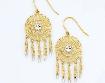 14K Two-Tone Dream Catcher Earrings, Dream Catcher Earrings, Dream Catcher Jewelry, Native Indian Jewelry, Gold Earrings, Dream Catchers