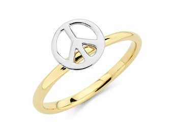 14K Two-Tone Peace Ring, Peace Ring, Peace Jewelry, Gold Peace, Peace Sign, Gold Ring, Gold Jewelry, Two-Tone Jewelry, Two-Tone Ring, Ring