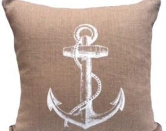 Anchor handscreenprinted onto natural linen cushion
