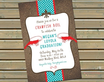 Crawfish / Shrimp Boil Invitations - 30 or 50 Printed Invitations with Envelopes