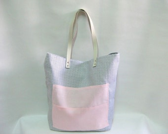 Large Tote Bag, Shoulder Bag, Overnight Tote, Gym Bag, Weekend Bag, Black and Pink Linen