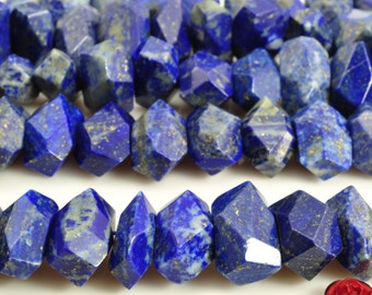 15.5 inches of Natural Lapis Lazuli faceted Nugget beads in 10x16mm