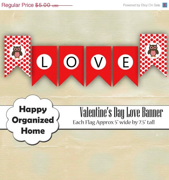 60% OFF 2 DAY SALE Diy Love Banner Flag, Printable Valentine's Day Banner, Owl Valentine's Day Banner, Printable Banner, Instant Download Pa