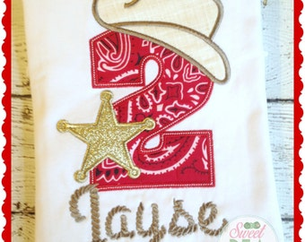 Cowboy Birthday Shirt - Personalized cowboy shirt - sheriff shirt - Embroidered shirt - Boys birthday shirt - Girls birthday shirt - Cowboy